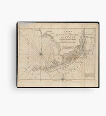 Vintage Map of The Florida Keys (1771) Leinwanddruck