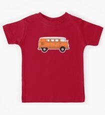 Camper, VW, combi, Volkswagen, Van, VW, Orange, Split screen, 1966 Volkswagen, Kombi (North America) Kids Tee