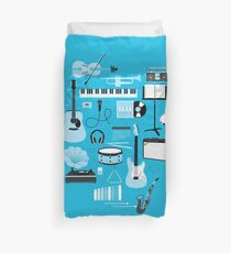 Blue Music Things Duvet Cover