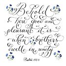 Brothers in unity inspirational handwritten verse by Melissa Goza