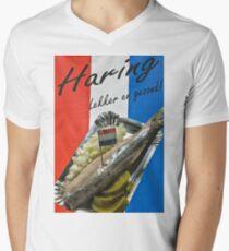 """Haring-  """"herring"""" poster- Amsterdam Men's V-Neck T-Shirt"""