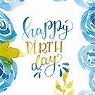 Happy Birthday Aquarell Blumen Blau von farbcafe