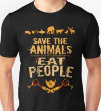 rette die Tiere, ESSEN SIE MENSCHEN (4) Slim Fit T-Shirt