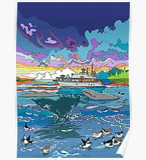 Whalewatching at dusk Poster