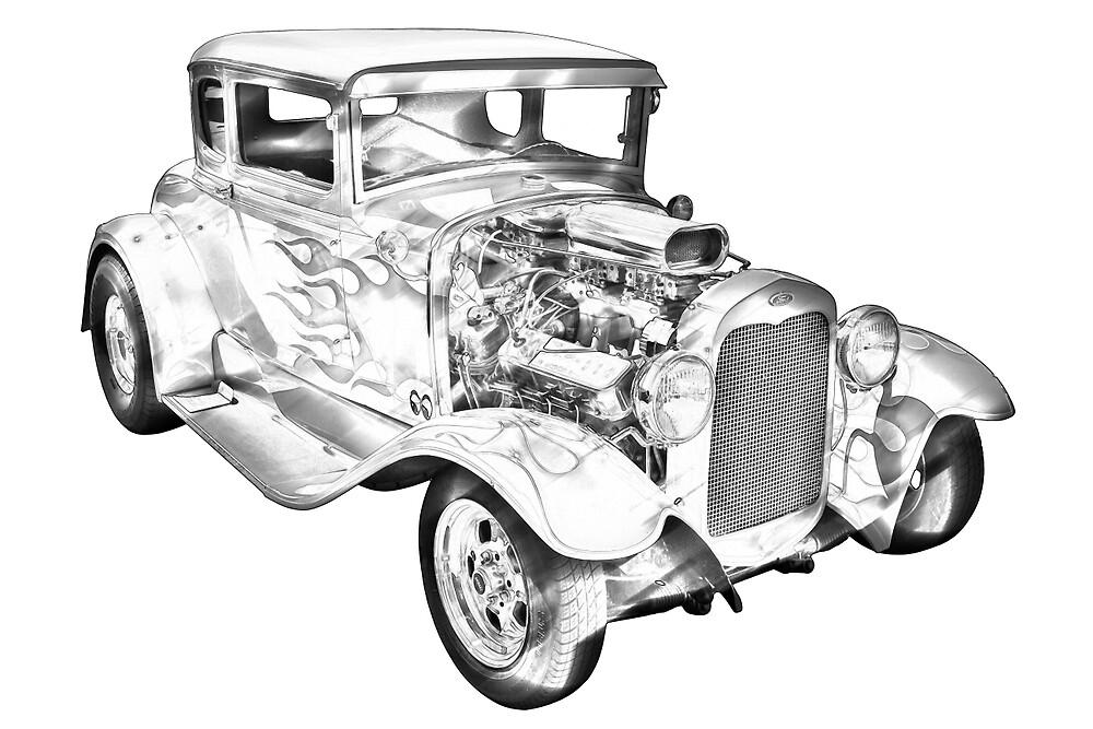 1930 Model A Custom Hot Rod Illustration by KWJphotoart