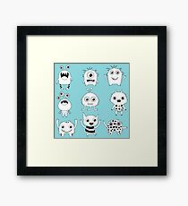 Black and white silly monsters Framed Print