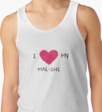 Camiseta de tirantes Amo mi camisa del corazón de Mal-Shi para los amantes del perro