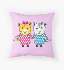 Miss Maple and Miss Neko Throw Pillow