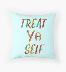 Treat Yo Self Theta Throw Pillow