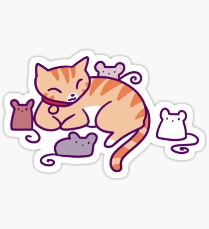 Mice and Tabby Sticker