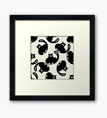 Cartoon pattern with cute black cats Framed Print