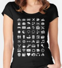 Travel Icons Language (White) Women's Fitted Scoop T-Shirt