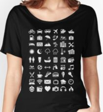 Travel Icons Language (White) Women's Relaxed Fit T-Shirt