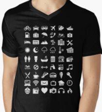 Travel Icons Language (White) Men's V-Neck T-Shirt