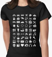 Travel Icons Language (White) Women's Fitted T-Shirt