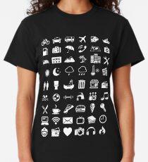 Camiseta clásica Idioma de los iconos de viaje (blanco)