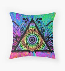 Psychedelic Skull Triangle Throw Pillow