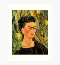 Frida Kahlo Self-portrait with Bonito Art Print
