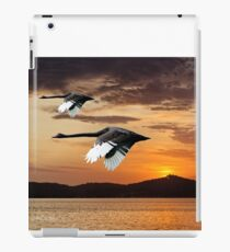 Two Swans at Dawn. Waterscape Sunrise with Water Reflections iPad Case/Skin