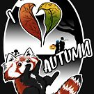 I Love Autumn - Red Panda Design von CreaFea