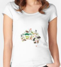 Australian animal map  Women's Fitted Scoop T-Shirt