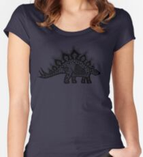Stegosaurus Lace - Black / Grey Women's Fitted Scoop T-Shirt