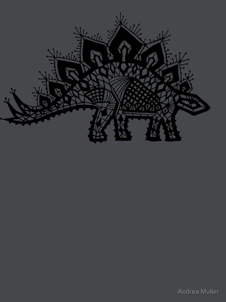 Stegosaurus Lace - Black / Grey by andreaalice