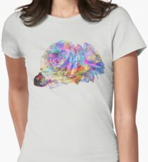 Rose Colorful Brush Womens Fitted T-Shirt