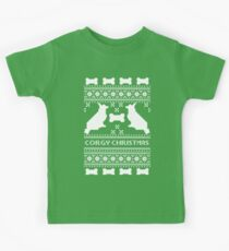 Christmas sweater - corgi christmas green Kids Tee