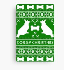 Christmas sweater - corgi christmas green Canvas Print
