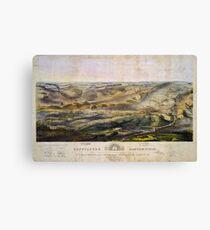 Vintage Map of The Gettysburg Battlefield (1863)  Canvas Print