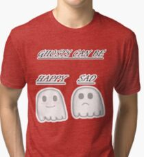 Kawaii Happy and sad ghosts  Tri-blend T-Shirt