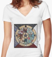 Mandala of the Seasons and Elements Women's Fitted V-Neck T-Shirt