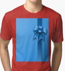 Blue Present Bow Tri-blend T-Shirt