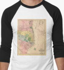 Vintage Map of Halifax Nova Scotia (1878) Men's Baseball ¾ T-Shirt