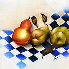 Pears on the Harlequin, by Alma Lee by Alma Lee