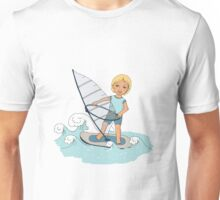 Smiling child rides on waves a board for windsurfing Unisex T-Shirt