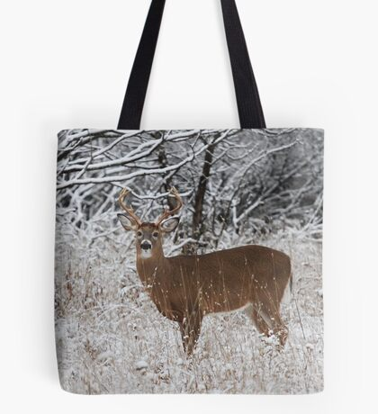 White-tailed deer buck in snow Tote Bag