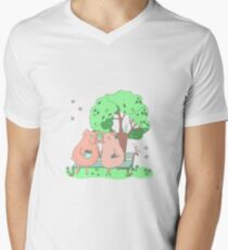 Couple of cute pigs sitting on a bench under a tree T-Shirt