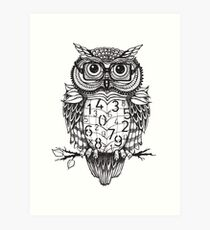 Owl sketch with numbers, glasses Art Print