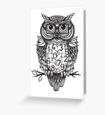 Owl sketch with numbers, glasses Greeting Card