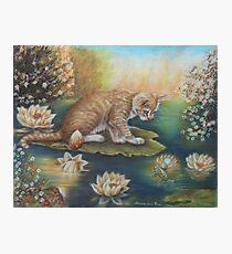 Whimsical Cat Art - Cat and the Prince Charming Frog Photographic Print