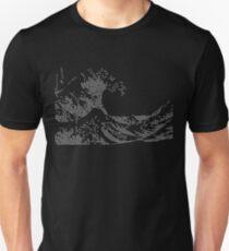Great Wave of Triangles off Kanagawa (White on Dark Shirt) Slim Fit T-Shirt
