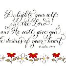 Delight in the Lord handwritten inspiration verse by Melissa Goza