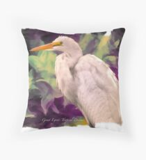 Great Egret: Tropical Dreams Throw Pillow