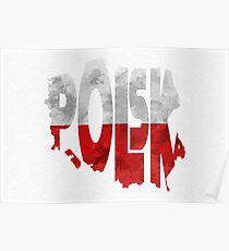 Poland Typographic Map Flag Poster
