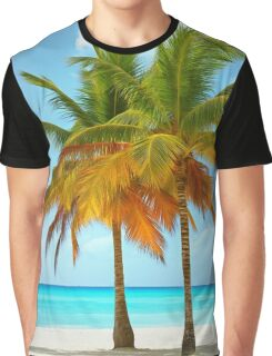 Palm trees on the bank of azure ocean Graphic T-Shirt