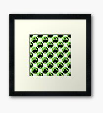 Cartoon seamless pattern with cute black cats Framed Print