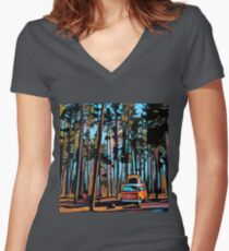 Bay Window Volkswagen Westfalia in Yellowstone  Women's Fitted V-Neck T-Shirt