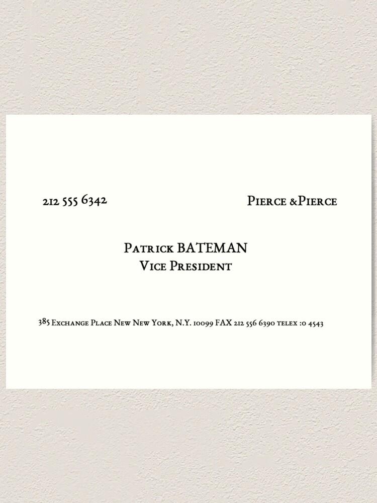 Amerikanische Psycho Bateman Visitenkarte Kunstdruck